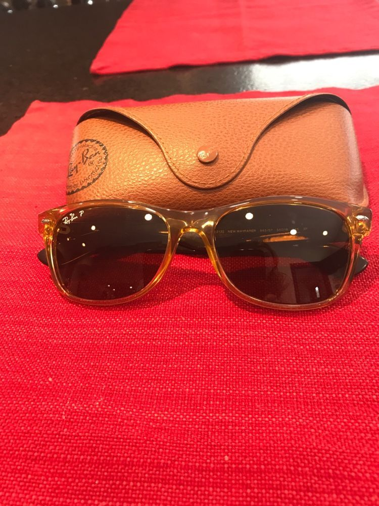 fbd8a73506 ray ban sunglasses new wayfarer light brown with black temples polarized  rb2132  fashion  clothing  shoes  accessories  mensaccessories ...