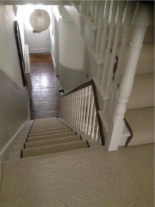 farrow and ball pavillion gray and ammonite in small hallway escaleras pinterest. Black Bedroom Furniture Sets. Home Design Ideas