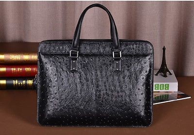 Luxury Ostrich Skin Embossed of Genuine Leather Business Men's Briefcase