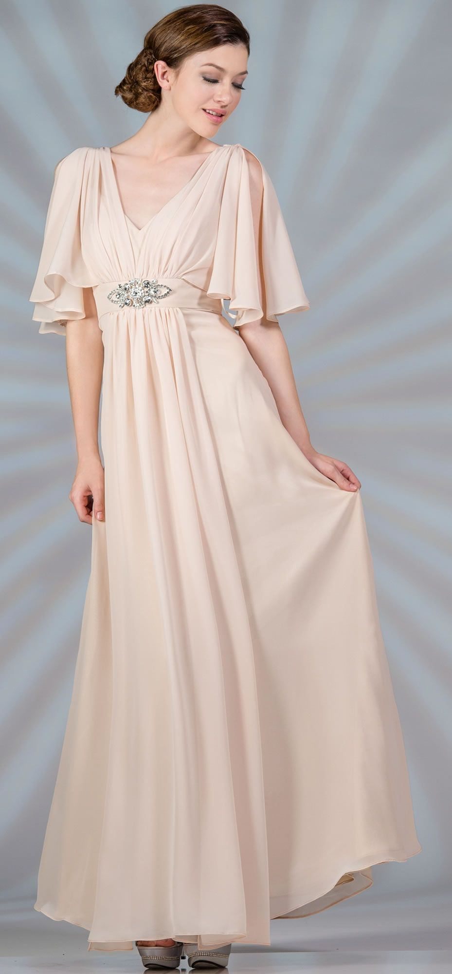 363317c2b6d25 Champagne Butterfly Sleeves Modest Evening Gowns - Discountdressup ...