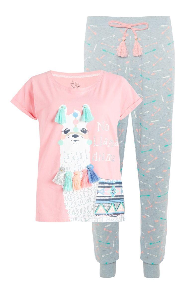 951dfa7c38 Grey Pink Llama Pyjama Set