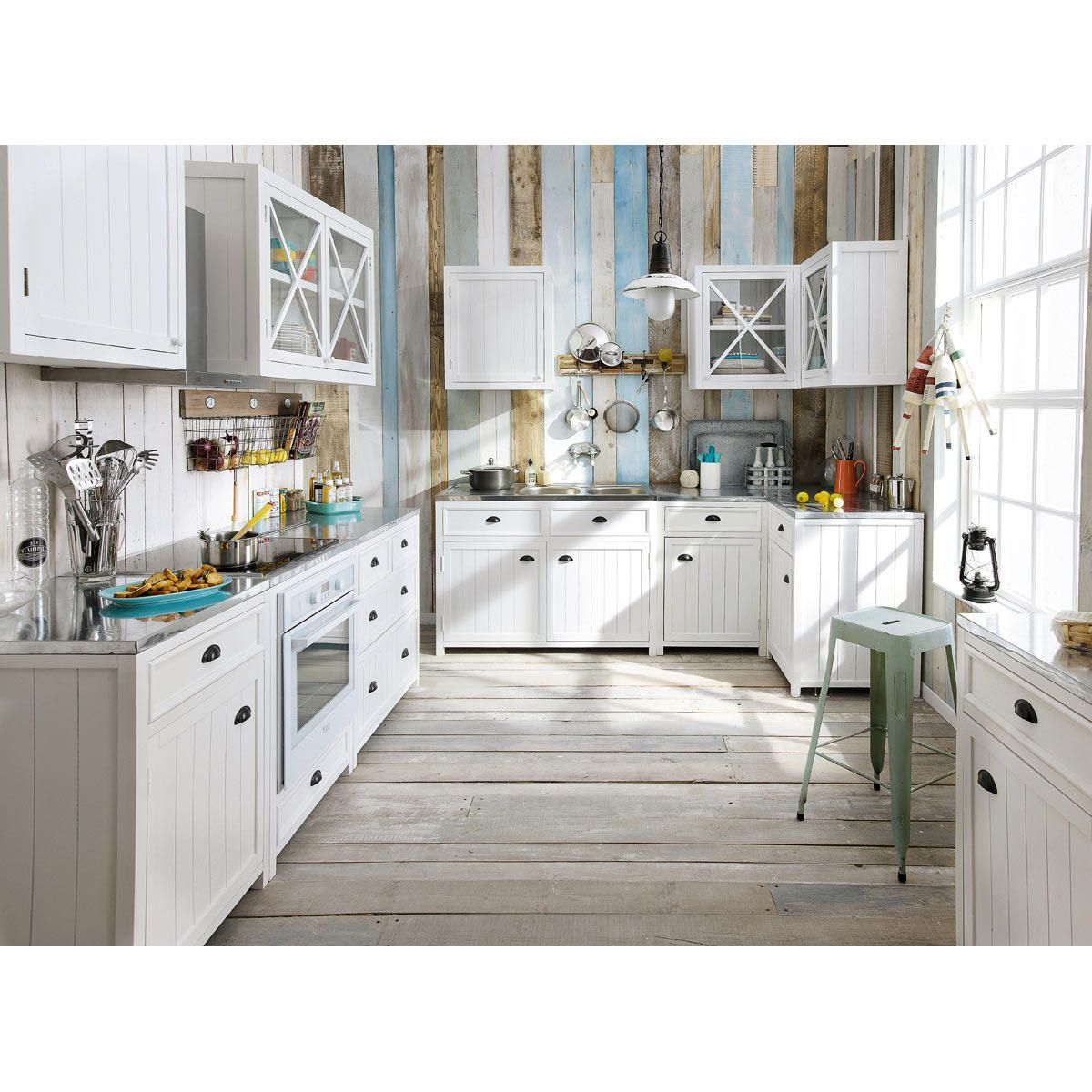 meuble bas de cuisine pour four en bois blanc l 70 cm newport maisons du - Meubles Blanc Maison Du Monde