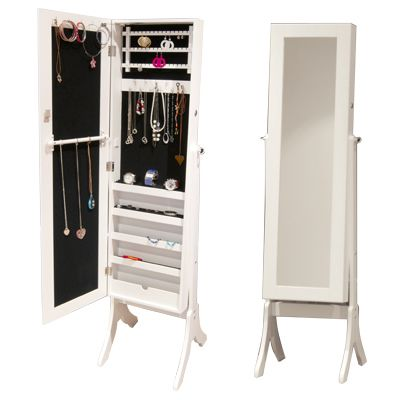 Bijoux Mirrored Jewelry Cabinet U0026 Accessory Organiser   2 In 1 Full Length  Mirror