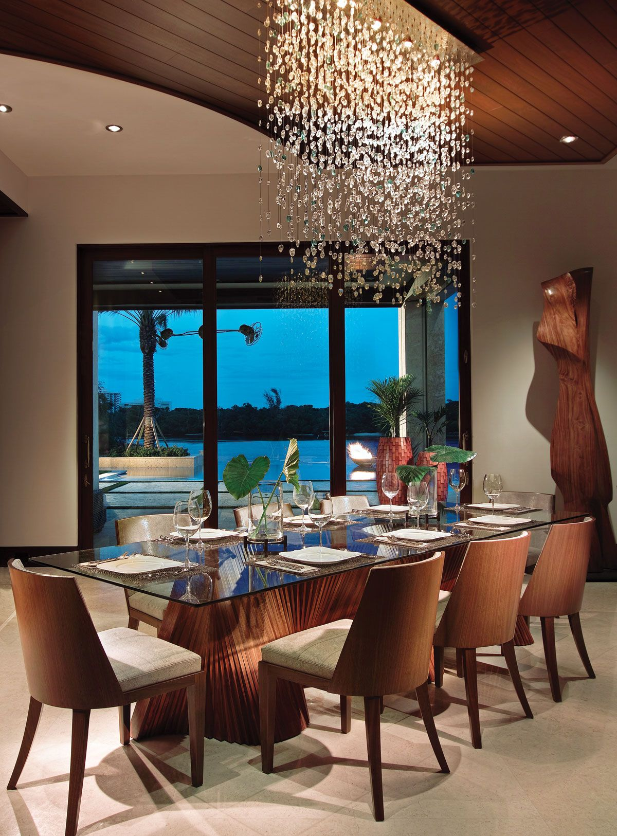 Home Florida Design Tropical Dining Room Dining Room Contemporary Modern Chandelier Dining