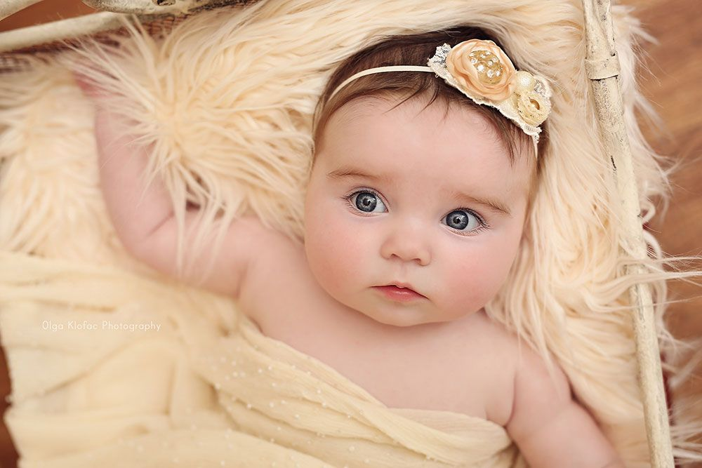 Beautiful 4 month old baby girl with blue eyes unique fine art baby portraits by