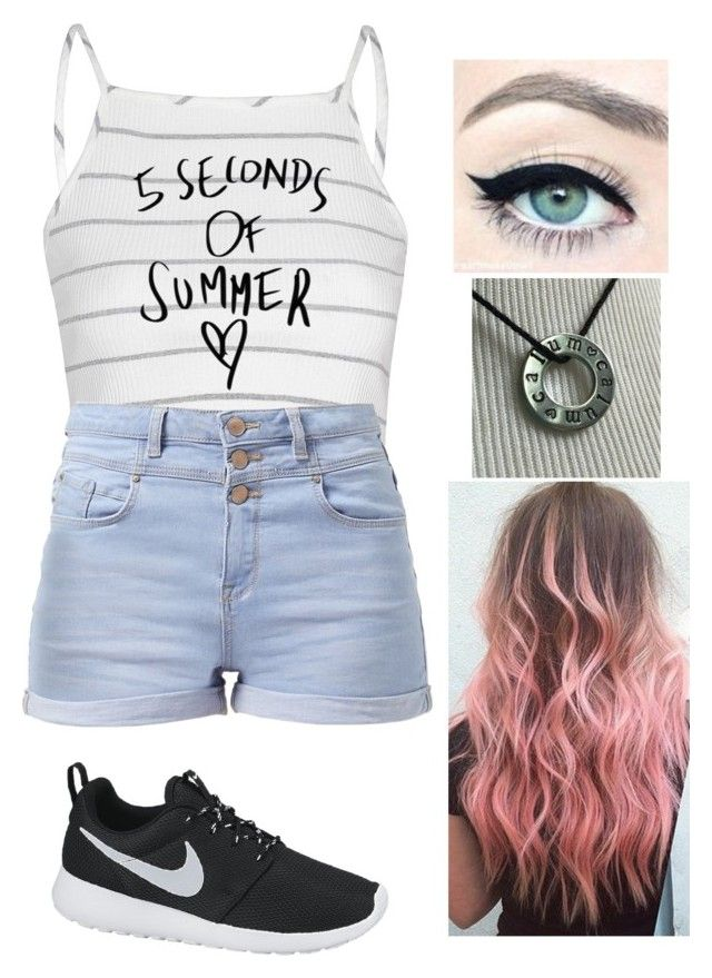 """5sos concert SLFL CHARLOTTE"" by caramarshall ❤ liked on Polyvore featuring Glamorous and NIKE"