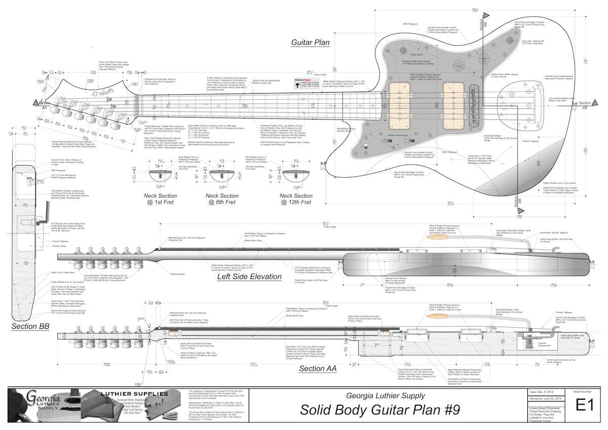 Solid Body Electric Guitar Plan 9 Electronic Version Gitara Cnc