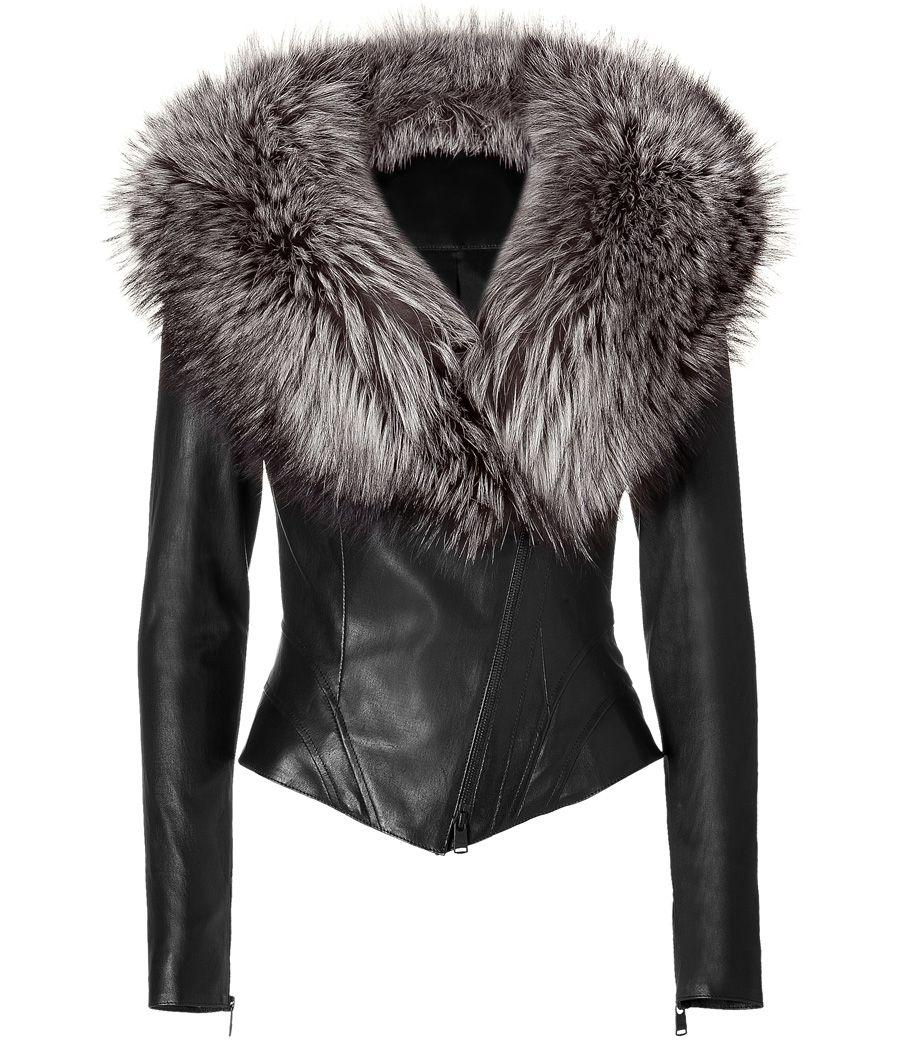 Black Leather Jacket with Fur Collar Fur leather jacket