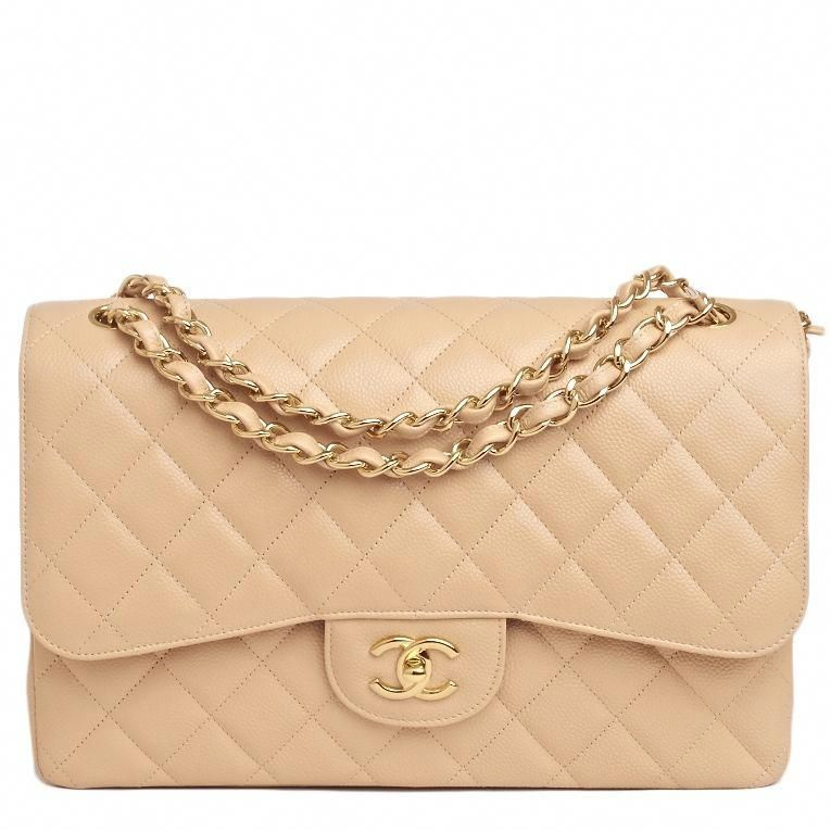 6285e739ed Chanel Classic Quilted Caviar Double Flap Jumbo Bag in Beige #chanel  #Chanelhandbags