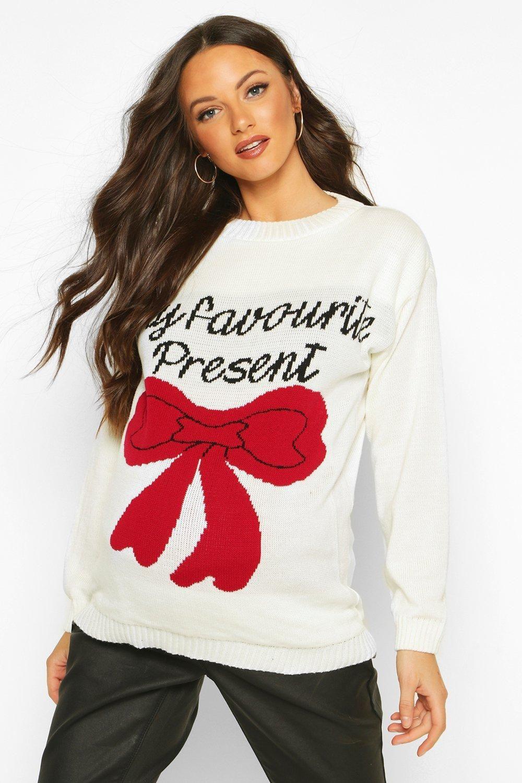 Maternity 'My Favourite Present' Xmas Sweater boohoo