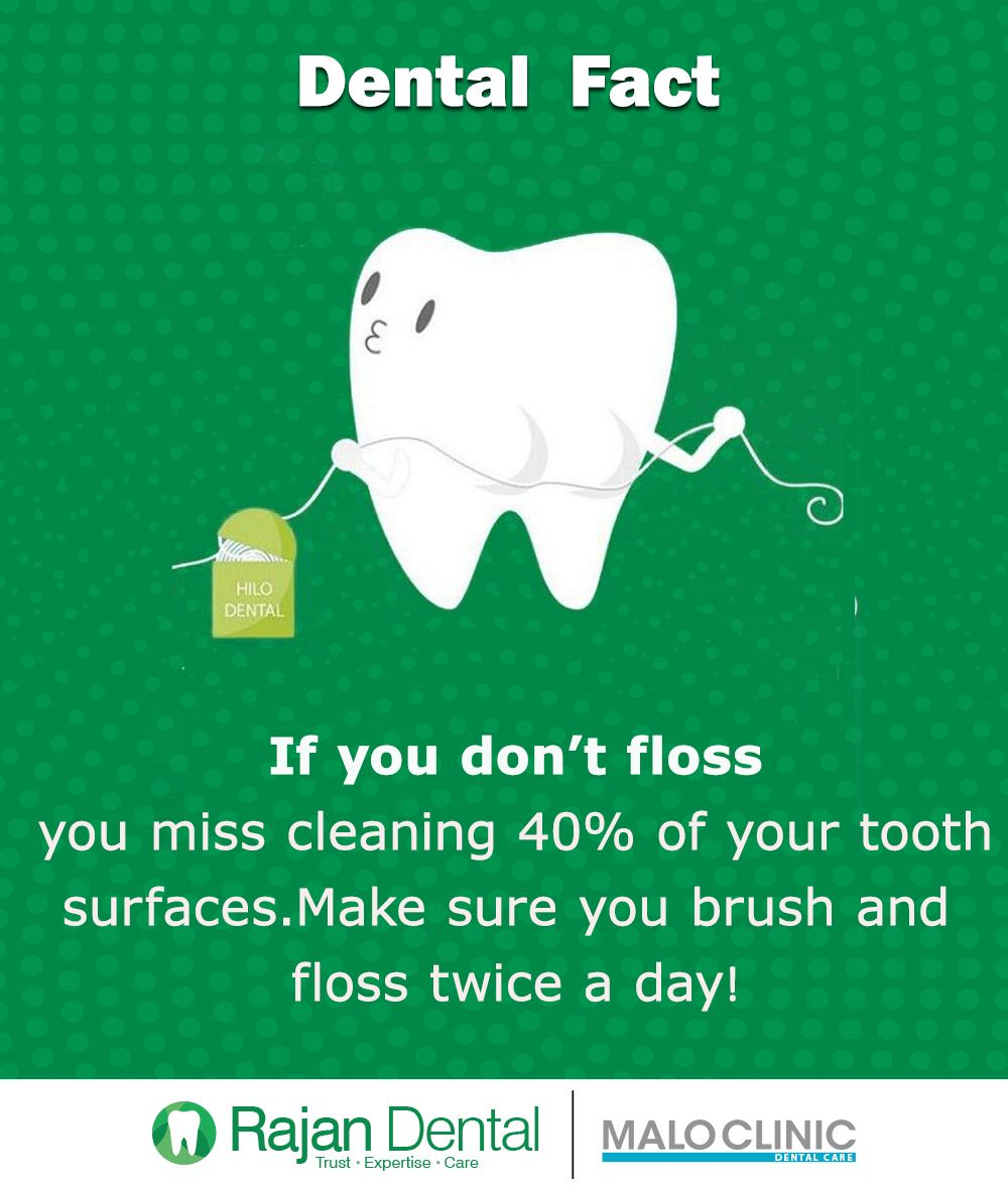 Dental Fact If you don't floss ,you miss cleaning 40% of your tooth surfaces. Make  sure you brush and floss twice a day! #Tooth #Floss #Rajandental #Brushing #Dental_fact #dentalfacts