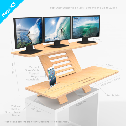 Standing Desk Three Screen Monitor Riser