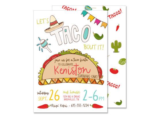 taco fiesta birthday invitation printed mexican fiesta invite taco party southwest birthday spanish birthday let s taco bout it food