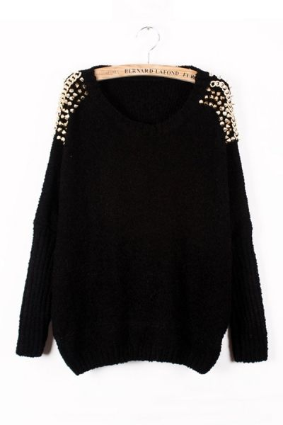 Studded Loose Sweater OASAP.com