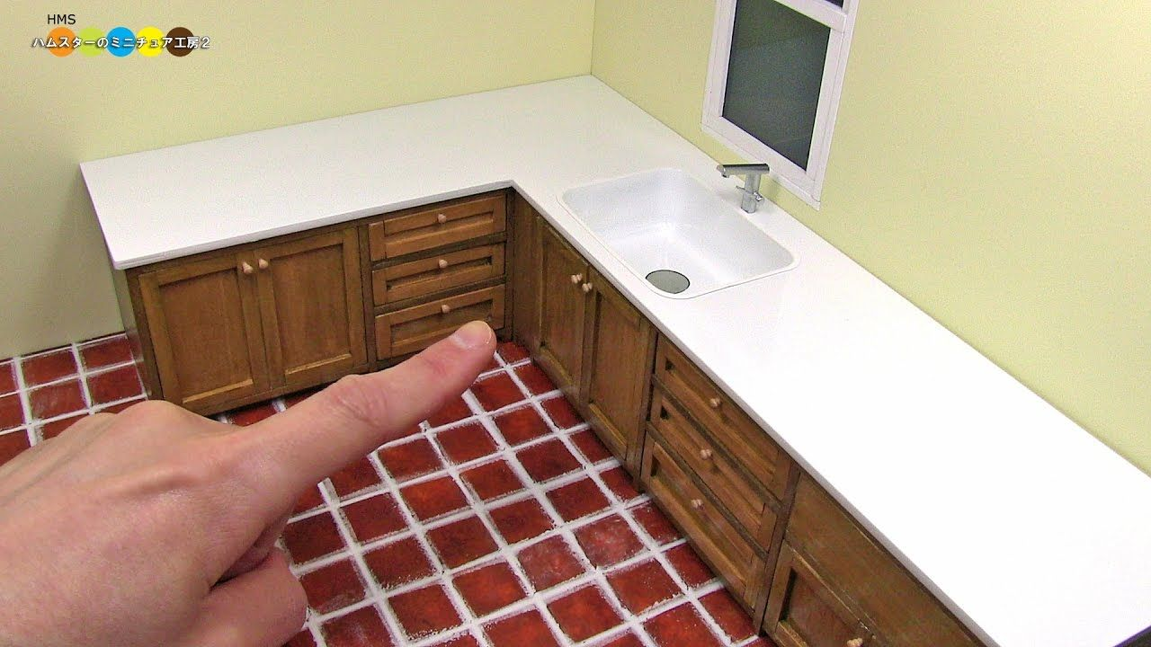 Tutorial Miniature L Shaped Kitchen Cabinets Countertop And Sink Miniature Kitchen Barbie Furniture Tutorial Barbie Kitchen