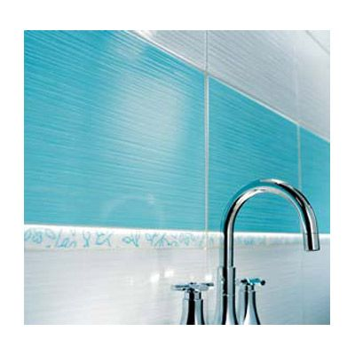 Carrelage mural rigato bianco turquoise 25 x 40 cm for Carrelage sdb bleu