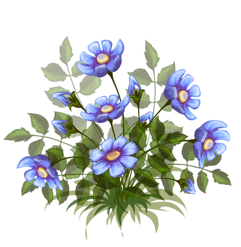 Рисунок синий цветок