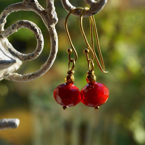 Earrings Ruby Crystal by ShooglyBeads on Etsy, £12.50