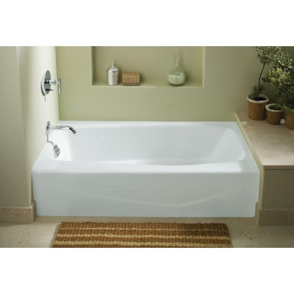 Merveilleux Left Hand Drain Integral Apron Cast Iron Bathtub In White K 715 0 At The Home  Depot