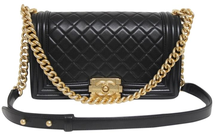 401ab87a6d02 Chanel New Medium Le Boy Leather Brushed Gold Hardware Black Messenger Bag.  Get one of the hottest styles of the season! The Chanel New Medium Le Boy  ...