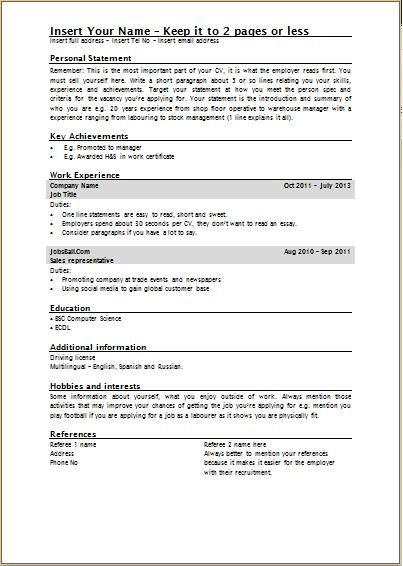 cv word template uk