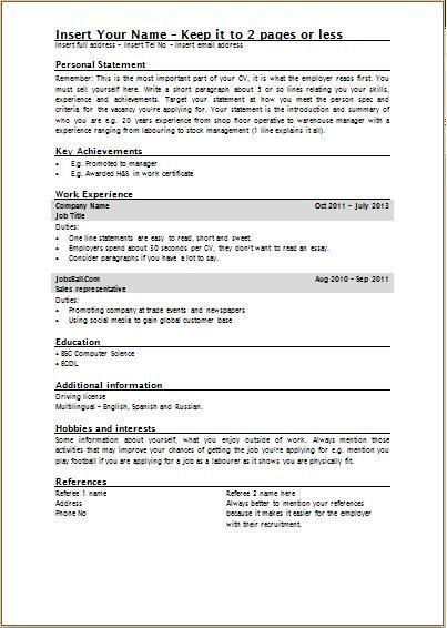 standard cv template uk