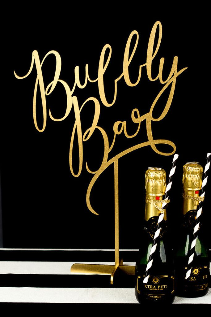 Bubbly Bar Wedding Table Sign