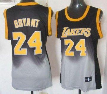 Lakers  24 Kobe Bryant Black Grey Women s Fadeaway Fashion Stitched NBA  Jersey ca89cf0d4