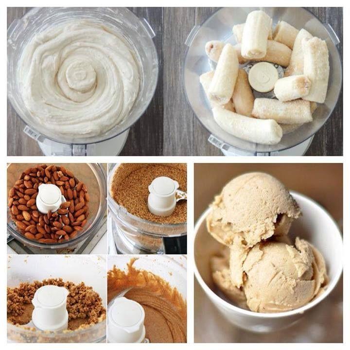 Mantequilla dre almendras, Plátano congelado!: En un procesador, mezcle las almendras, dejelas cremosas, A continuación, retire su mantequilla de nueces (pero dejar algunos en la máquina) y luego añadir en su plátano congelado. Pulso! Mezclar el plátano hasta que esté cremosa y suave. Por último, añadir un poco de mas mantequilla (si lo necesita), así como cualquier otro ingrediente de diversión (por ejemplo, las fresas o chocolate negro) - y se mezclan.