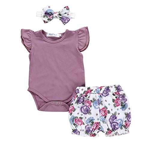Cute Newborn Baby Girls Ruffles Tops Romper Floral Pants Outfits Clothes Summer