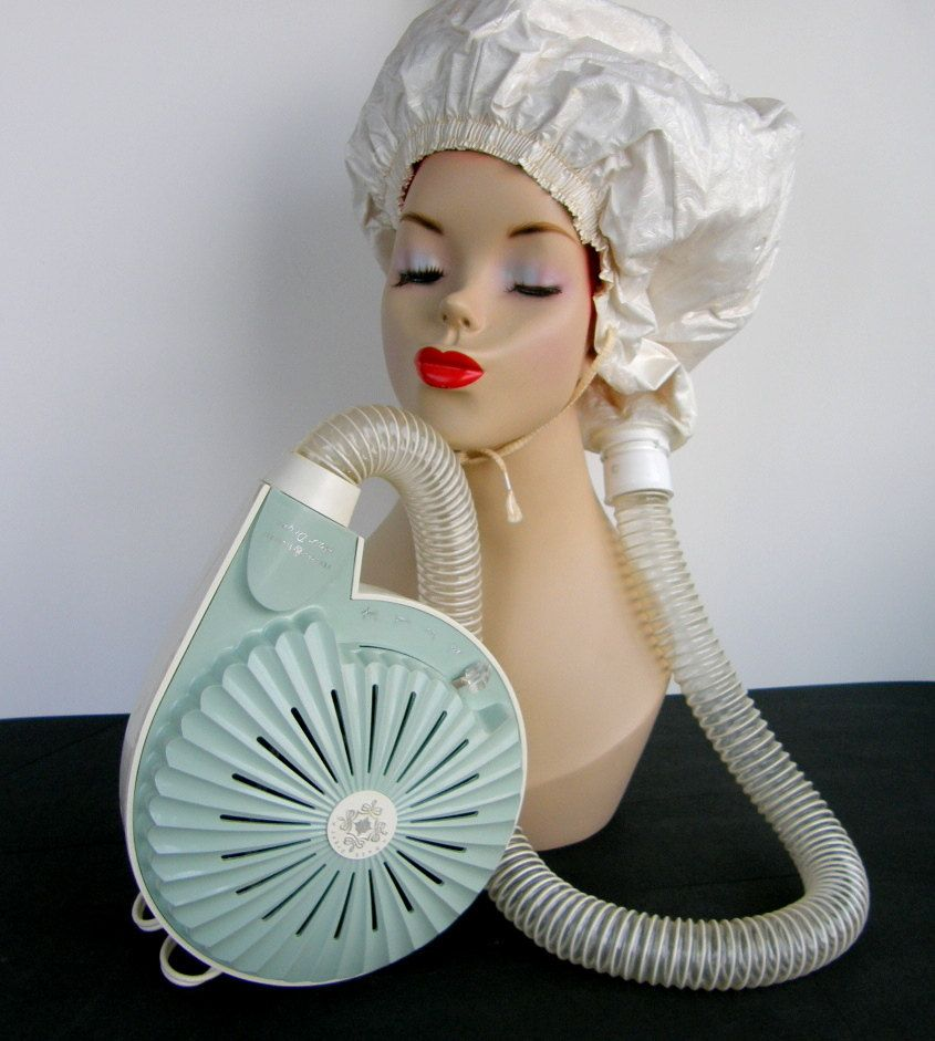 This Was The Only Way To Dry Your Hair Back Then We Used To Take The Hose Off The Hair Bonnet To Blow Our Wet Hai Sixties Hair Hair Dryer Bonnet