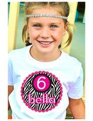 Zebra & Hot Pink Birthday Kids Shirt Personalized T-shirt for Girls | FUNKY MONKEY THREADS #FMT #funkymonkeythreads #zebrabirthday