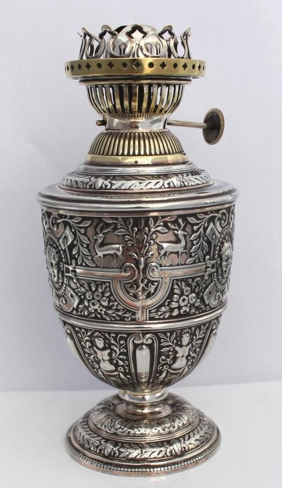 Rare JAMES DIXON'S Silver Plated CELLINI Style Oil Lamp With Chimney in Antiques, Antique Furniture, Lamps | eBay