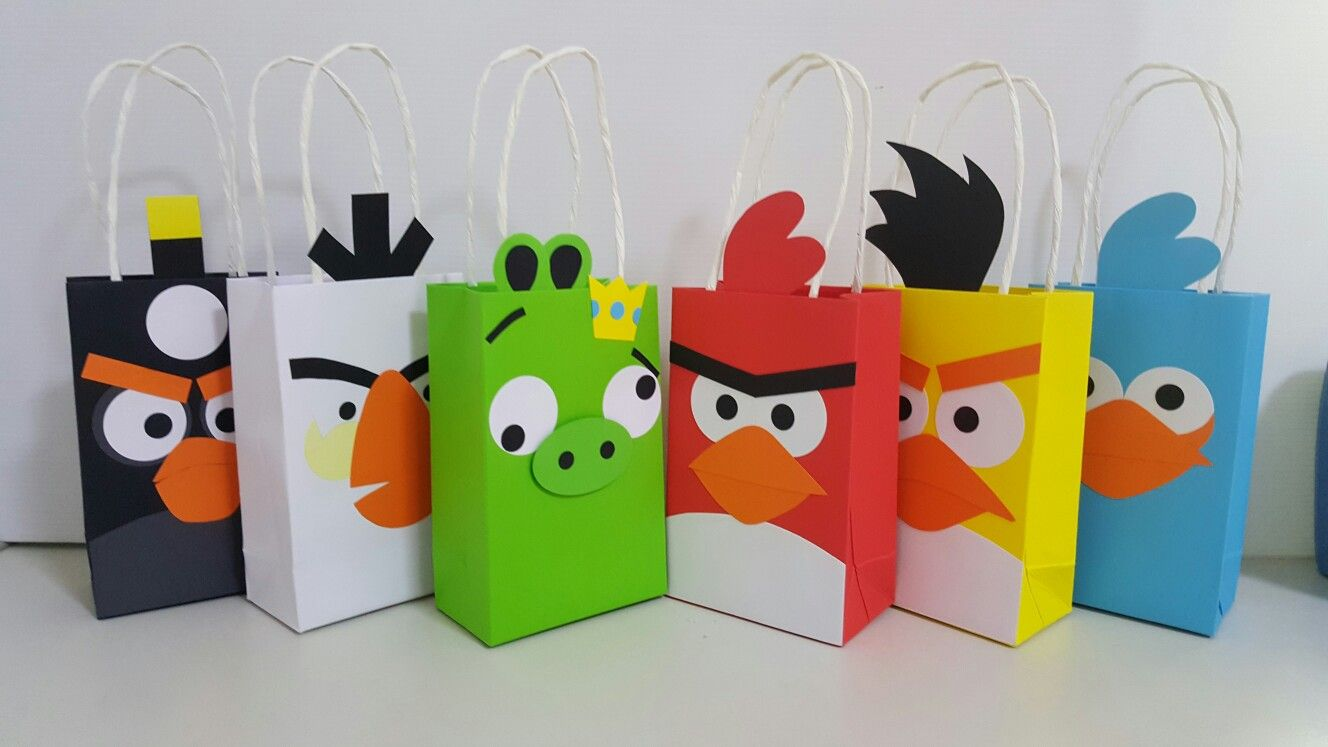 Handcrafted Angrybird Goodies Bags For Angry Bird Fans Handcraft Handmade Crafts Paper Box