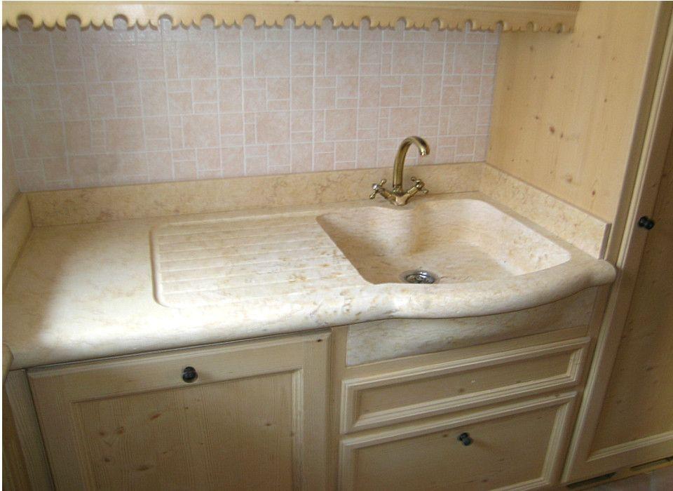 Lavello cucina con gocciolatoio in marmo silvia oro chiaro - Marmo piano cucina ...
