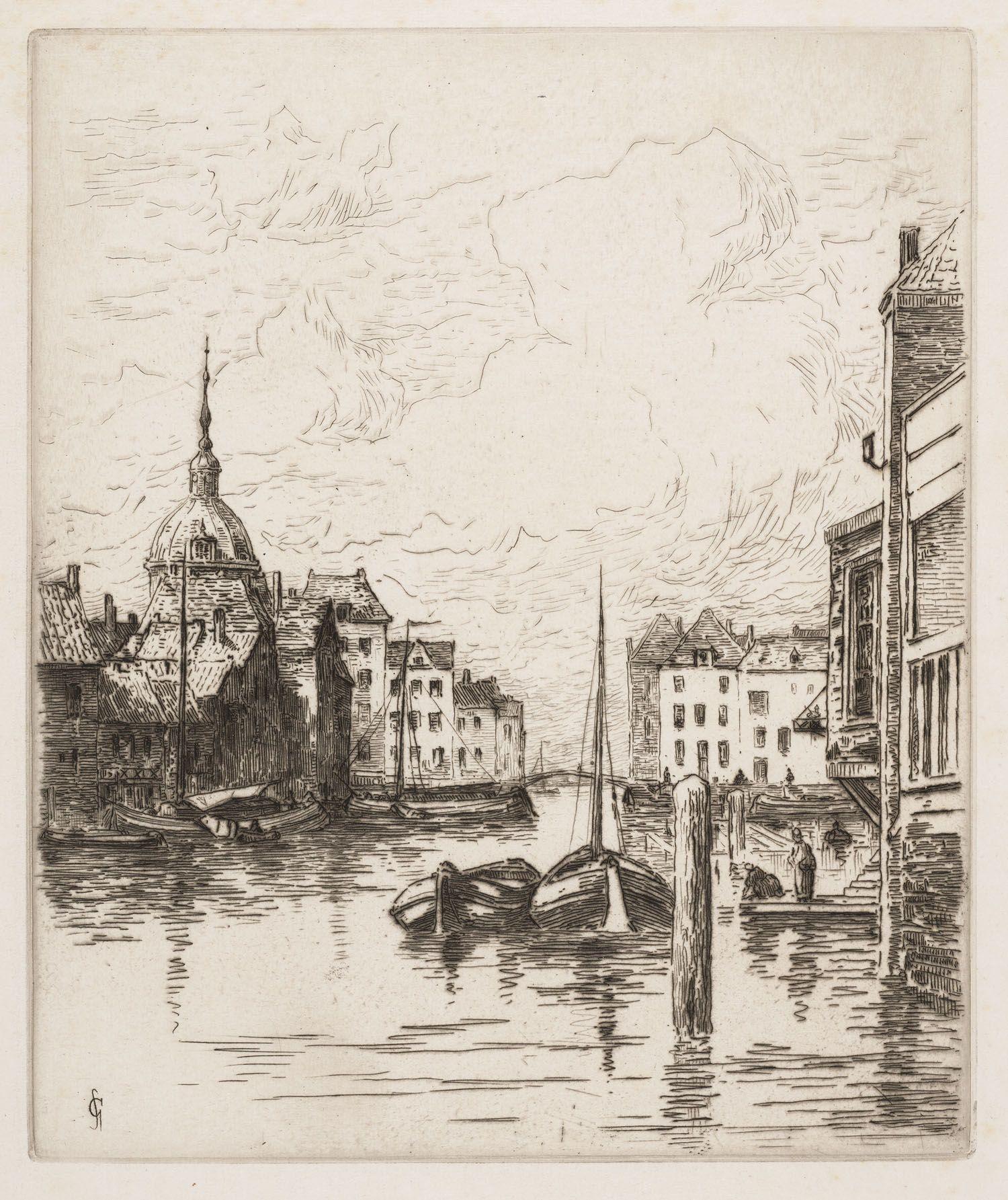 """Gezicht op de Voorstraathaven in Dordrecht, """"Jhr. Mr. Carel Nicolaas Storm van 's-Gravensande (1841-1924)""""; Universiteitsbibliotheek Leiden"""