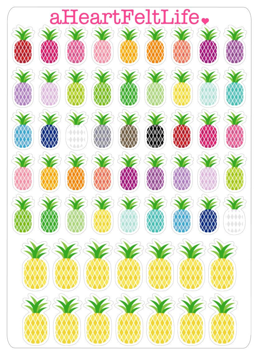 59 Pineapple Stickers for your Planner Scrapbook Calendar etc. (3.00 USD) by aHeartFeltLife