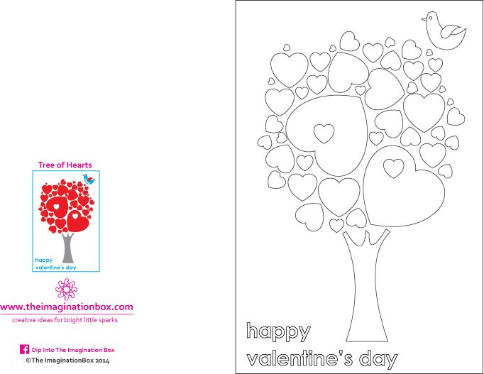 Valentine S Tree Of Hearts Free Pdf Greetings Card Template To