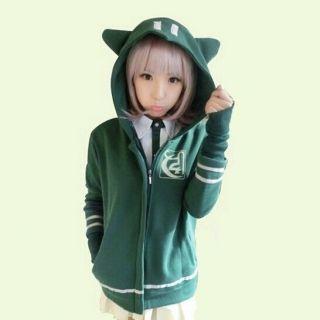 Anime Danganronpa 2 Dangan Ronpa Chiaki Nanami Cosplay Hoodies Green Coat Jacket