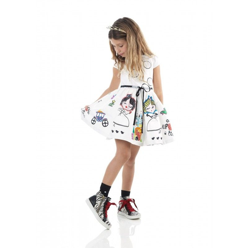 Princesses-print dress - Girl - Fall-Winter