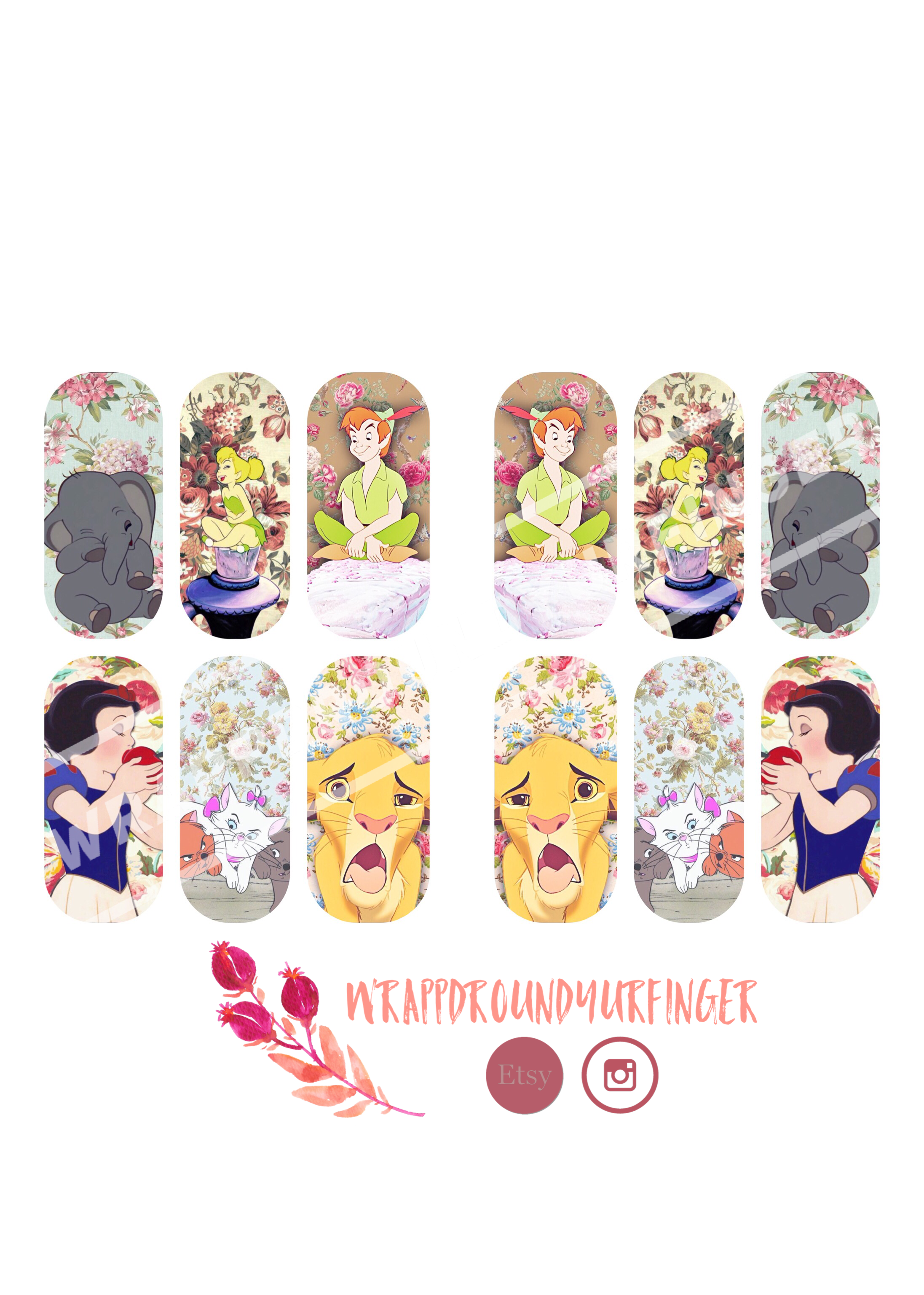 6.00 Disney Florals water slide nail wrap BY