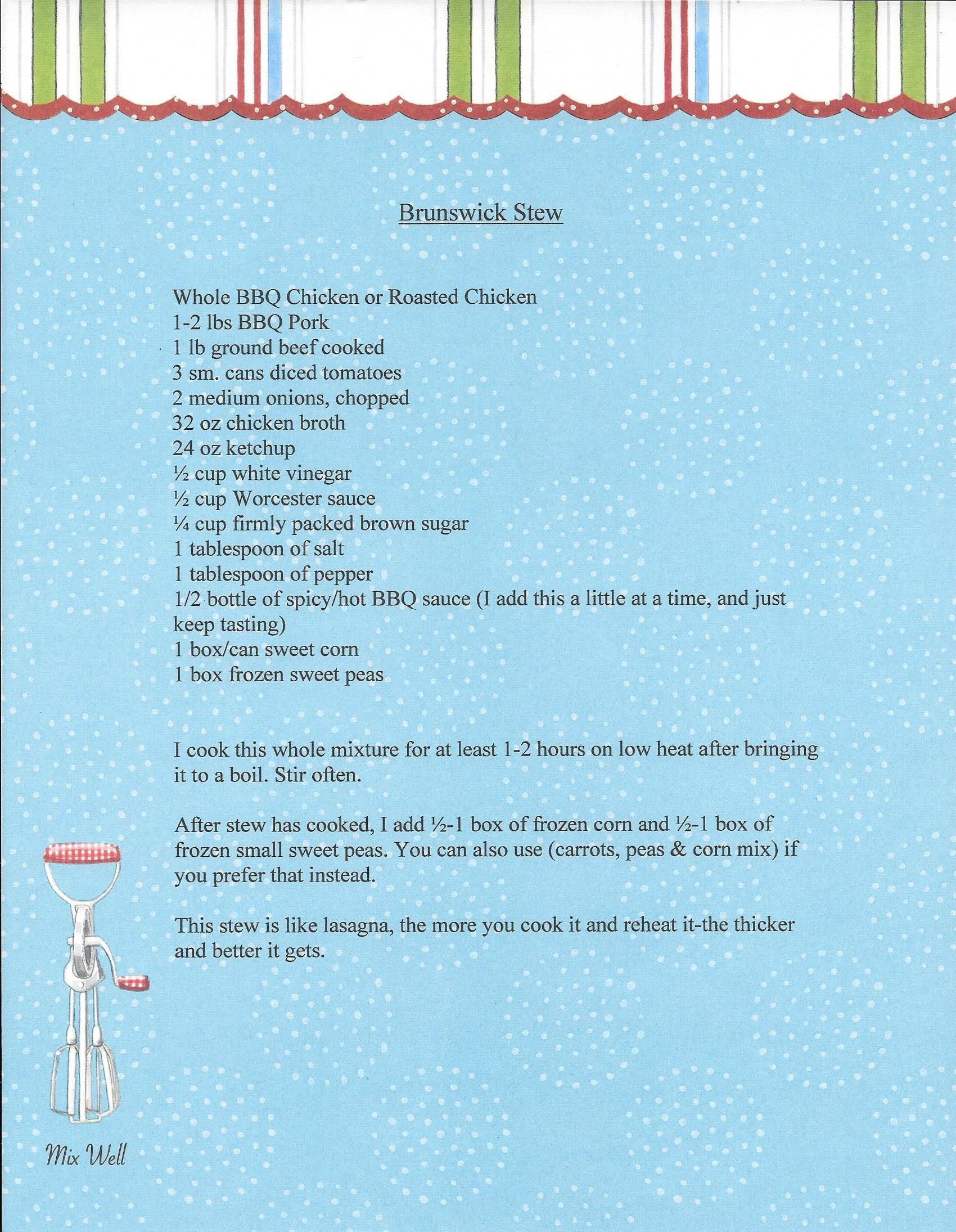 I found this Brunswick Stew recipe in an old Southern Living ...