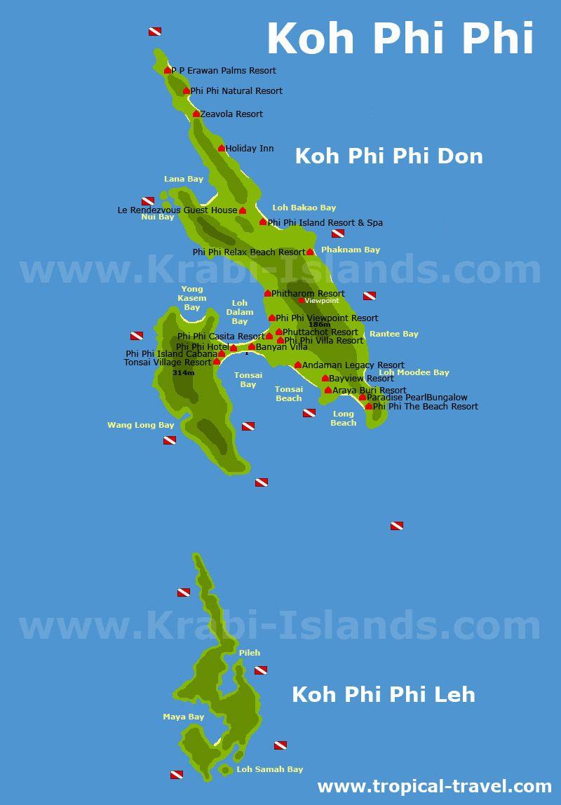 Koh Phi phi Don and Leh map SE Asia Trip Pinterest Leh Phi