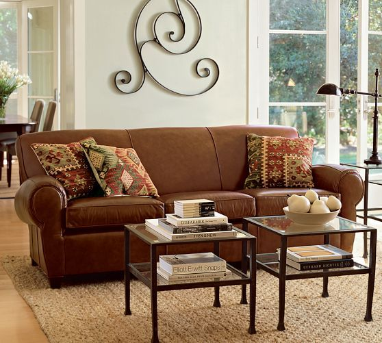 pottery barn living room furniture sets best sofa manhattan leather in hazelnut get swatch