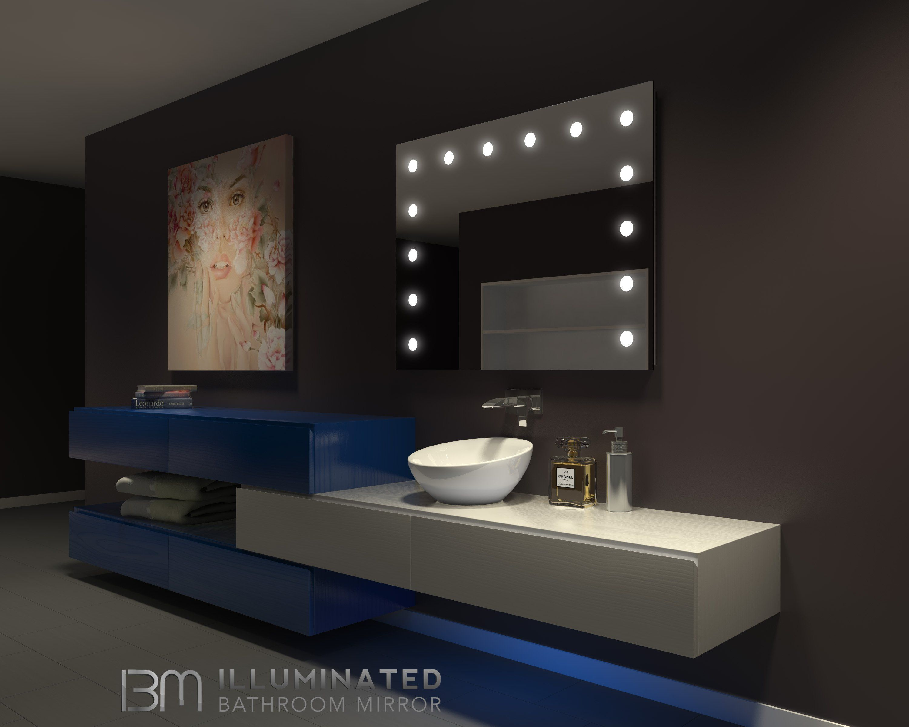 Dimmable Hollywood Mirror 48 X 36 Backlit Mirror Backlit Bathroom Mirror Rectangle Mirror