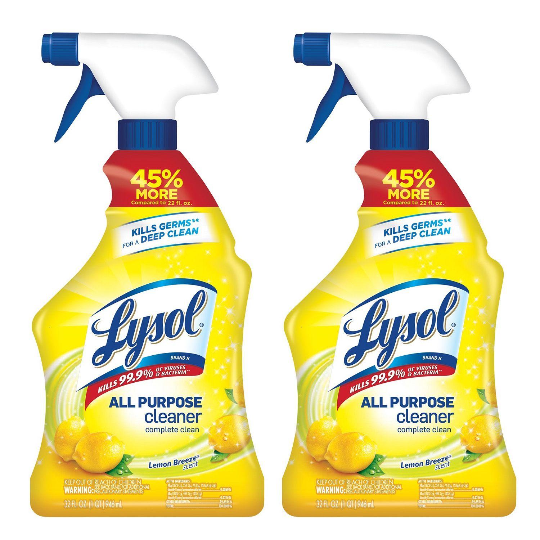 Lysol All Purpose Cleaner Spray Lemon Breeze Kills Germs 2x32oz Walmart Com All Purpose Cleaners Lysol Multipurpose Cleaner