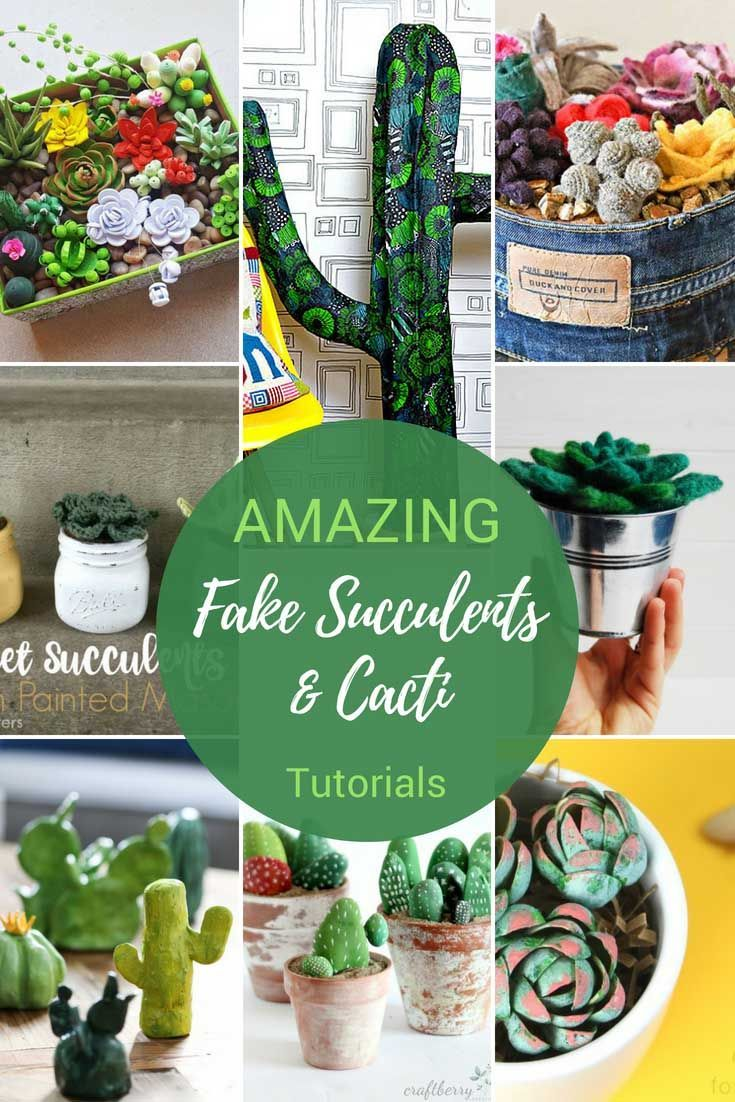 Ideas : Fake succulents and cacti are fun things to make for your home. You can make these wonderful faux plants out of all sorts of materials. From paper and wool to even wire. #succulents #cactus #craft
