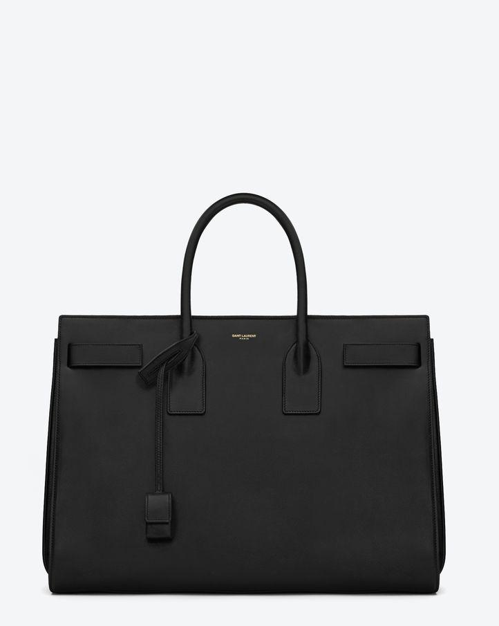 Saint Laurent Classic Sac De Jour Bag In Navy Blue Leather