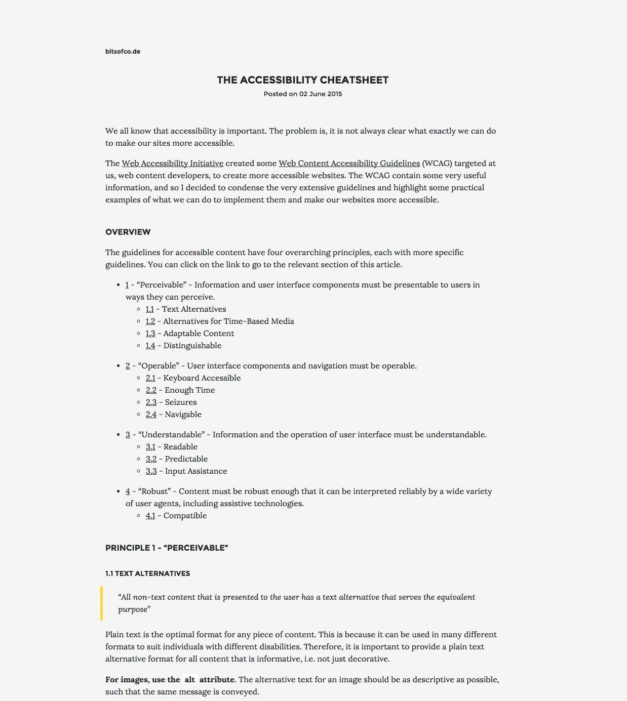 The Accessibility Cheatsheet