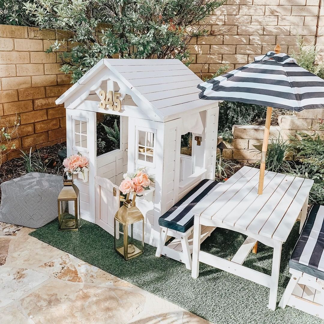 Ltkfamily On Instagram Deck Out Your Ltkkids Playhouse With Fresh Florals And Nautical Stripes Care Of Theposh Diy Playhouse Play Houses Backyard For Kids
